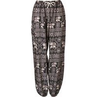 Elephant Print Harem Trousers - Black - One Size