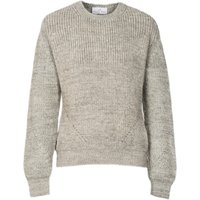Ally Bee British Alpaca Blend Chunky Crew Neck Jumper - Grey & Cream Marl