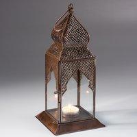 Square Table Top Antique Finish Lantern - Bronze