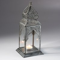 Square Table Top Antique Finish Lantern - Silver