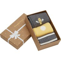 People Tree Organic Cotton Bee Socks Gift Box - 3 Pairs