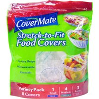 Covermate Stretch to Fit Reusable Food Covers - Pack of 8.