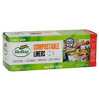Biobag Tie Top Compostable Bin Liners - 10L - Roll of 20