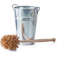 ecoLiving Plastic Free Toilet Brush & Silver Holder Set