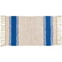 Baumwollteppich mit Streifen Blau 50 cm x 80 cm