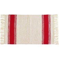 Baumwollteppich mit Streifen Rot 50 cm x 80 cm