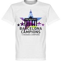 2015 Barcelona 5 Star European Winners Kids T-shirt - White - 8