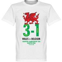 Wales v Belgium 3-1 Victory Commemorative T-shirt - White - XXXXXL