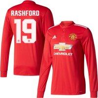 Man Utd Home L/S Rashford 19 Shirt 2017 2018 (Official Cup Style Printing) - 46