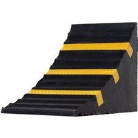 HOMCOM Rubber Set-of-2 Heavy Duty Wheel Chocks Black/Yellow