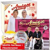 50 Jahre - Unsere Schlager von damals + Melodien der Herzen + Filzuntersetzer mit Halter Amigos + Tasse