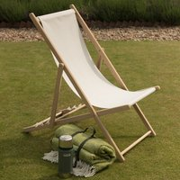 Product photograph showing Garden Deck Chair - Ecru 2 Left
