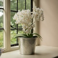 Hand etched aluminium planter bowl - 39cm