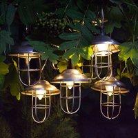 10 solar galvanised metal lanterns