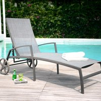 Product photograph showing Lifestyle Garden Solana Textilene Wheeled Lounger - 1 Left