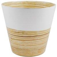 Bamboo planter white 24cm