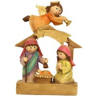 Product photograph showing Resin Children Nativity With Angel Ornament