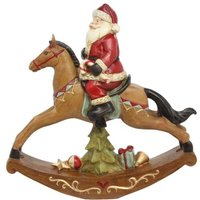 Product photograph showing Resin Santa On Rocking Horse Ornament