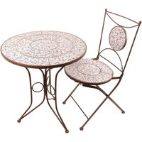 Product photograph showing Aged Ceramic Bistro Set Table