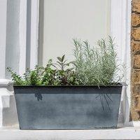 Plant trough - long aged zinc - 27cm