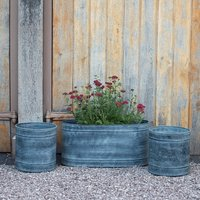 Planter and trough set aged zinc