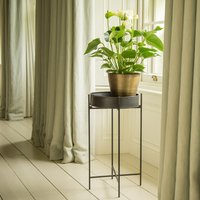 Product photograph showing Plant Tray And Stand - Short Graphite Patina