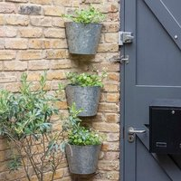Set of 3 galvanised corner wall planters