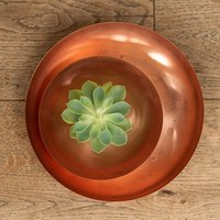 Product photograph showing Round Plant Dish - Brushed Copper Small