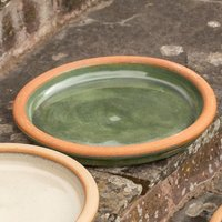Product photograph showing Glazed Ceramic Bird Bath Saucer - Sage 31cm