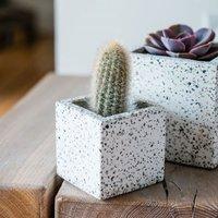 White terrazo cube planter 7cm