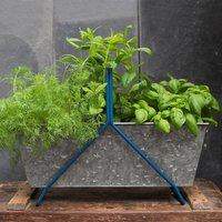 Portable planting trough - tealy blue frame