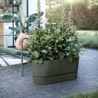 Greenville terrace trough on wheels 80cm green