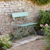 Product photograph showing Folding Steel Bistro Bench - Greengage