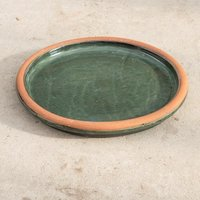 Glazed ceramic bird bath - sage