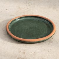 Glazed ceramic bird bath - ocean green