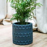 Geometric cement planter teal 22cm