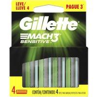 Carga para Aparelho de Barbear Gillette Mach3 Sensitive 4 Unidades 4 Unidades