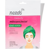 Máscara Facial de Chá Verde Needs Beauty com 1 unidade 1 Unidade
