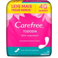 Protetor Diário Carefree Tododia Sem Perfume 40 Unidades