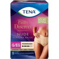 Calcinha Descartável Tena Pants Discreet Nude Tamanho G/EG 8 Unidades