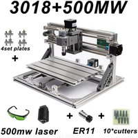 CNC3018 DIY Laser Engraving PCB Milling Machine Wood Carving Router(with ER11+10Pcs Cutters+500mw Laser+Protect Glass)