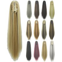 60cm Long Straight Clip-in Wig, Synthetic High Temperature Fiber Wig For Women