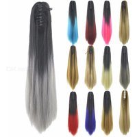 60cm Long Straight Clip-in Ombre Wig, Straight Synthetic Heat Resistant Hair For Women