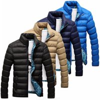 New Mens Clothing Short Paragraph Stand Collar Slim Thickening Warm Cotton Over Down Coat