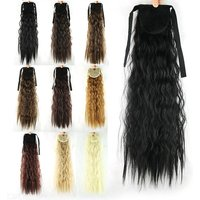 Long Wavy Fake Hair Pieces Drawstring Ponytail Extensions For Women Synthetic High Temperature Fiber Hair Extensions