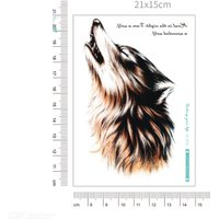 Waterproof Fashion Wolf Roar Design Large Arm Temporary Tattoo Stickers For Men