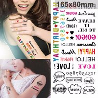 Temporary Tattoo Sticker Colorful Anime Word Pattern Waterproof Body Art
