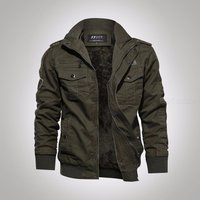 Large Size Mens Jacket Fleece Lining Casual Overcoat With Multiple Pockets