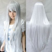 Anime Long Straight Synthetic Hair Cosplay Role Play Costume Heat Resistant Wigs Silver White