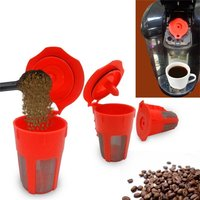 Coffee Filter Basket Cup Reusable Flip Cover Refillable K-Cup K Carafe Filter Pod
